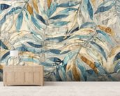 Gentle Leaf Blues - Watercolour wallpaper mural living room preview
