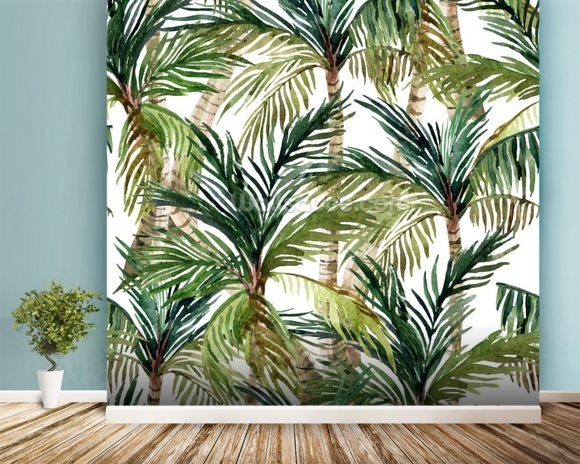 Watercolor Palms wall mural room setting