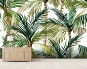 Watercolor Palms wall mural living room preview