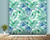 Blue Green Palms wallpaper mural in-room view