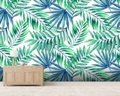Blue Green Palms wallpaper mural living room preview