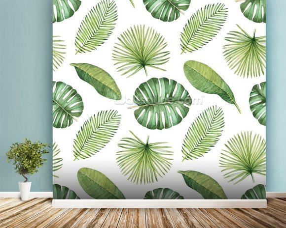 Tropical Leaves Mural Wallpaper Room Setting