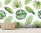 Tropical Leaves mural wallpaper living room preview