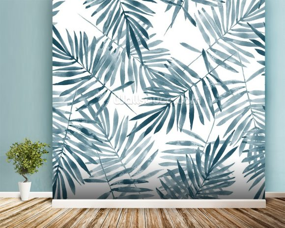 Palm Leaf Watercolour mural wallpaper room setting