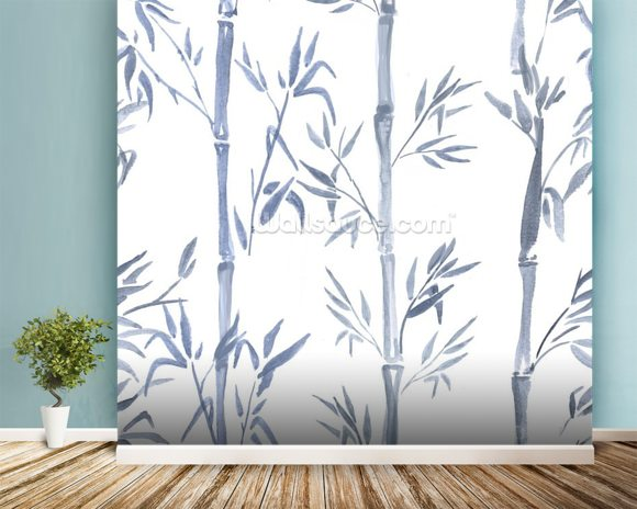 Bamboo leaves watercolour wallpaper wall mural wallsauce usa for Bamboo wall mural wallpaper