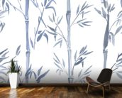 Bamboo Leaves Watercolour wall mural kitchen preview