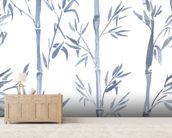 Bamboo Leaves Watercolour wall mural living room preview