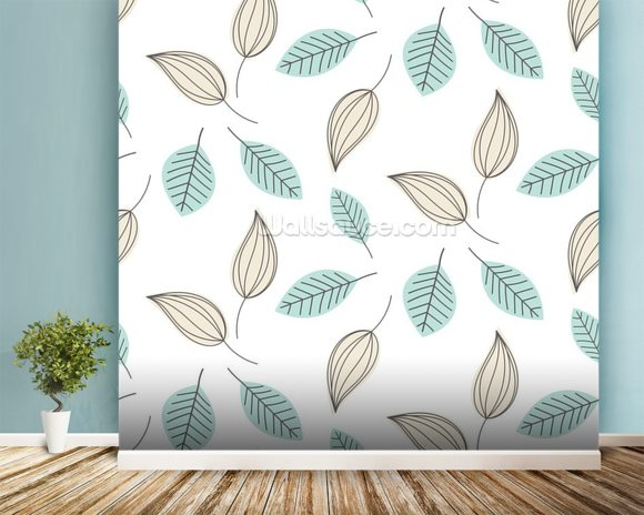Blue and Beige Leaves mural wallpaper room setting