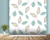 Blue and Beige Leaves mural wallpaper in-room view