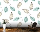 Blue and Beige Leaves mural wallpaper kitchen preview