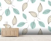 Blue and Beige Leaves mural wallpaper living room preview