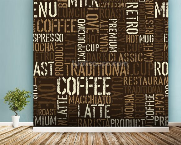 Abstract Coffee mural wallpaper room setting