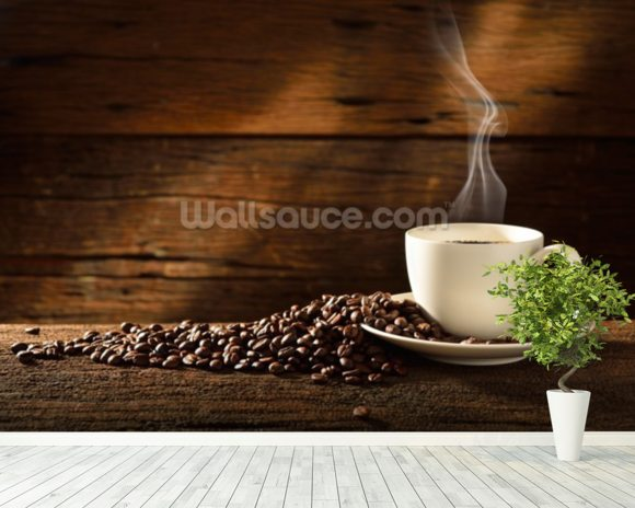 Coffee Cup and Coffee Beans wallpaper mural room setting