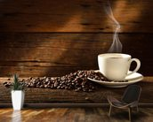 Coffee Cup and Coffee Beans wallpaper mural kitchen preview