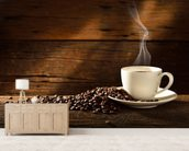 Coffee Cup and Coffee Beans wallpaper mural living room preview