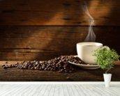 Coffee Cup and Coffee Beans wallpaper mural in-room view