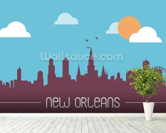 New Orleans Skyline Illustration wallpaper mural room setting