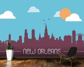 New Orleans Skyline Illustration wallpaper mural kitchen preview