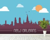 New Orleans Skyline Illustration wallpaper mural in-room view