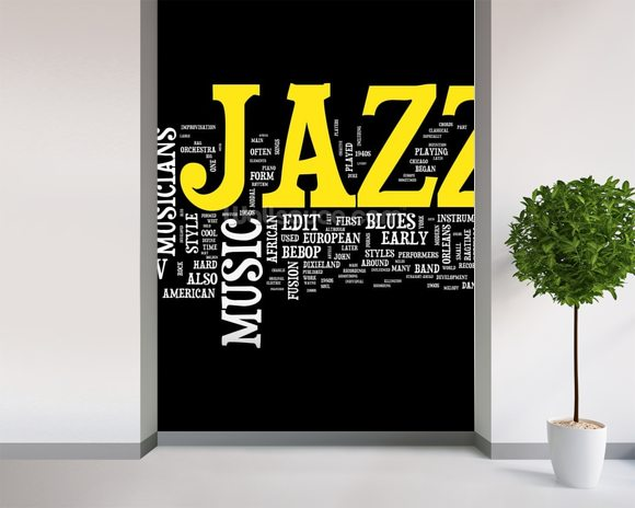New Orleans Jazz mural wallpaper room setting
