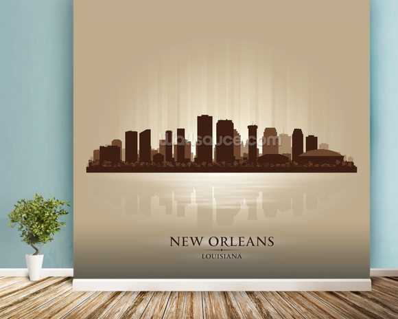 New Orleans Abstract Skyline mural wallpaper room setting