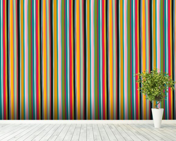 Coloured Lines wallpaper mural room setting