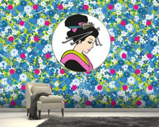 Flowerbed Geisha Wallpaper Mural Wall Murals Wallpaper