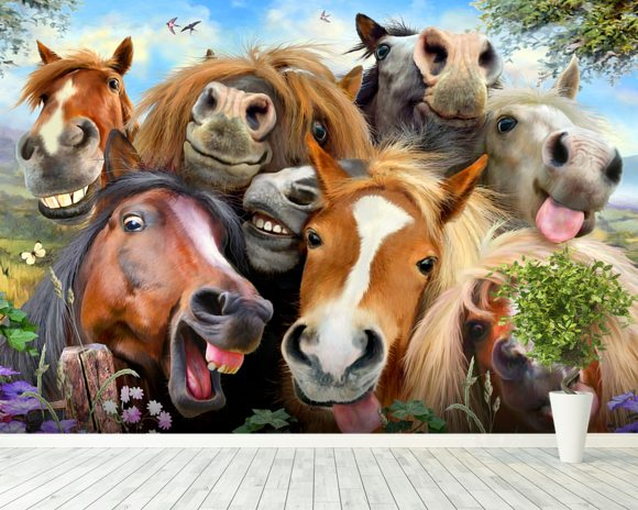 Horses Selfie wallpaper mural room setting
