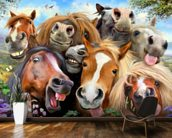 Horses Selfie wallpaper mural kitchen preview