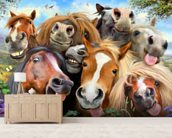 Horses Selfie wallpaper mural living room preview