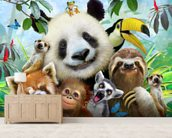 Zoo Selfie wallpaper mural living room preview