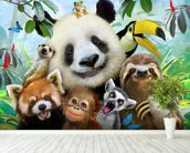 Zoo Selfie wallpaper mural in-room view
