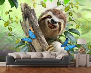 Sloth Selfie wallpaper mural