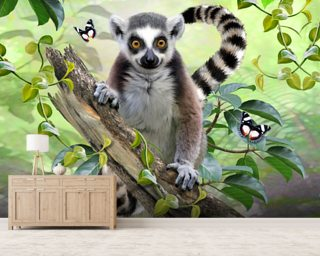Ringtailed Lemur Selfie wallpaper mural