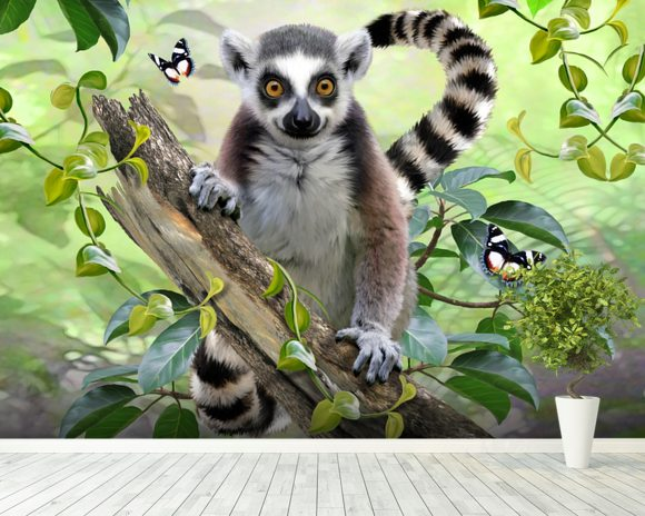 Ringtailed Lemur Selfie wallpaper mural room setting