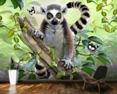 Ringtailed Lemur Selfie wallpaper mural kitchen preview