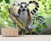 Ringtailed Lemur Selfie wallpaper mural living room preview