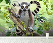 Ringtailed Lemur Selfie wallpaper mural in-room view