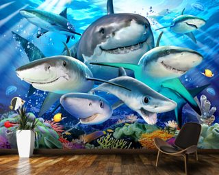 Shark Selfie Wallpaper Wall Murals
