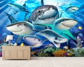 Shark Selfie wallpaper mural living room preview
