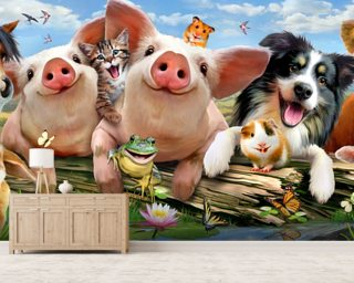 Petting Farm selfie mural wallpaper