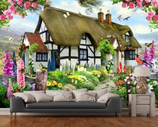 Rose cottage Wallpaper Wall Murals