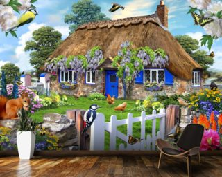 Wisteria Cottage Wallpaper Wall Murals