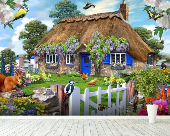 Wisteria Cottage wallpaper mural room setting
