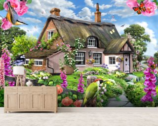 Foxglove Cottage Mural Wallpaper Wall Murals Wallpaper