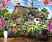 Foxglove cottage mural wallpaper kitchen preview