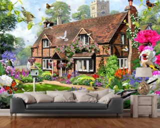 Peony Cottage Wall Mural Wall Murals Wallpaper
