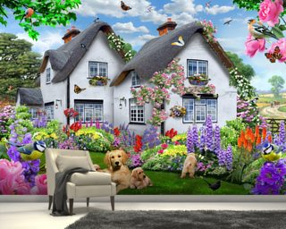 Delphinium Cottage Wall Mural Wall Murals Wallpaper