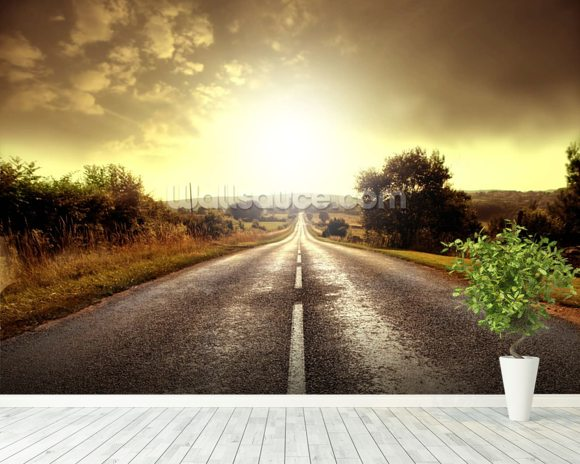 Country road wallpaper wall mural wallsauce for Country wall mural