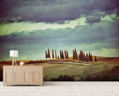Vintage Tuscan Landscape mural wallpaper living room preview